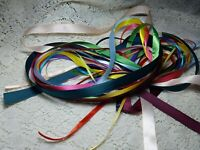 "50 Piece Grab Bag (12"" each) SATIN Ribbon Remnants Mixed Colors and Widths"
