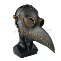 Plague Doctor Mask Birds Long Nose Beak PU Leather Steampunk Cosplay Cover Black