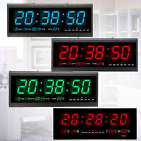 Digital Large Big Jumbo LED Wall Desk Clock With Calendar Temperature 24/12 Hour