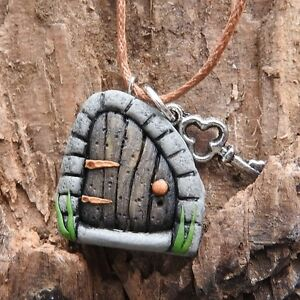 Hand made brown fairy door pendant with tiny key on brown cord #fh4