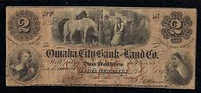 "Omaha, Nebraska, $2.00,1858 Obsolete Banknote, ""The Omaha City Bank and Land Co"""