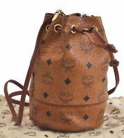 Authentic MCM Cognac Visetos Leather Vintage Shoulder Bag Brown  B8266