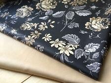 Stoffe Grau Klassische Blumenmuster Rosen Shabby Chic Stoff - Br.150cm