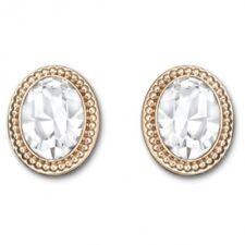 NIB Swarovski Arrive 5036772 White Oval Crystal Rose Gold Plated Stud Earrings