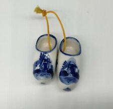 Longaberger Basket Tie On Miniature Dutch Shoes Ornament Delft Blue Windmill