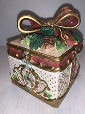 Fitz and Floyd Classics Porcelain Square 2 Piece Trinket Box Holly & Ribbon