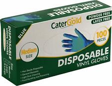 More details for disposable blue vinyl gloves for catering powder free latex free 100pk