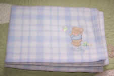 Just Born Plush Thick Fleece Blue Plaid All Boy Bear w Airplane Baby Blanket Euc
