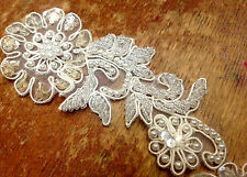 "APPLIQUE BEADS SEQUINS PEARLS BRIDAL 2""x4.5"" SOFT WHITE FLOWER LEAVES 1pc"