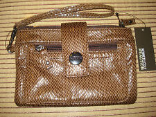 "COOL AND CUTE KENNETH COLE BROWN FAUX SNAKESKIN EMBOSSED ""LEATHER LIKE"" WRISTLET"