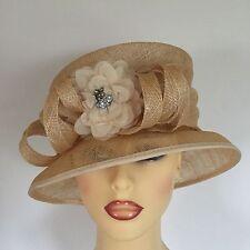 Ladies Wedding Hat Races Mother Bride Ascot Gold Cream Diamante by Mari Da