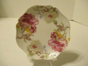 BUTTER PAT - GDA HAVILAND - LIMOGES - LARGE PINK/WHITE FLOWERS - YELLOW ACCENTS
