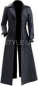 Resident Evil 5 Video Game Albert Wesker Casual Black Leather Long Trench Coat