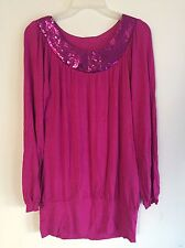 Women's  Blouse Tunic Fuchsia Sequined Collar Long Sleeve Top Stretch Sz L
