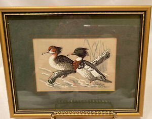 "Cashs Silk Woven Pictures Red Breasted Merganser 7 1/2"" X 6"""
