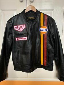 Official Steve McQueen Le Mans Genuine Black Cowhide Leather Jacket - Size M.