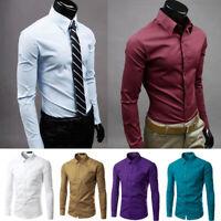 UK Men's Business Dress Shirt Slim Fit T-Shirts Formal Long Sleeve Tops