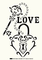 Heart STENCIL Key Ring Love Paint Wall Furniture Card making Reusable Craft HE60