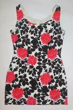 GUESS MAURICE MARCIANO DRESS BLACK WHITE PINK RED ROSES SLEEVELESS EUC sz 6