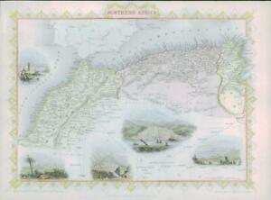 "1850 Antique Map ""NORTHERN AFRICA"" Algeria Morocco Tunisia TALLIS COLOUR (49)"