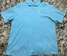 Tommy Bahama Mens Baby Blue Polo Golf Polo Shirt Size 3XB Pima Cotton