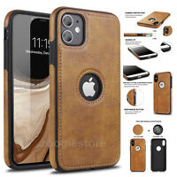 For iPhone 12 11 Pro Max 12 Pro Mini XR 6 7 8 Plus Leather Ultra Thin Slim Case