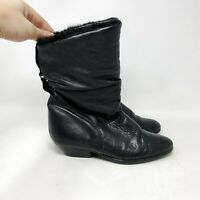 Vintage Cougar Black Leather Slip On Mid Calf Faux Fur Boots Sz 7 Made Portugal