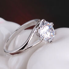 Lady 18k Silver Gold Filled Huge Sapphire Crystal Solitaire Engagement Ring J-R