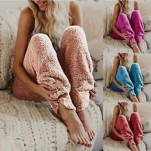 Winter Night Pyjama Sleep Pants Plush Lounge Thick Coral Fleece Elastic Pajamas