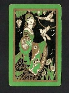 1 SWAP PLAYING CARD ART DECO RENAISSANCE LADY WITH BIRD DOVES - LOTS OF GOLD