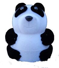 WHITE AND BLACK VELOUR PANDA NOVELTY RING / EARRING BOX