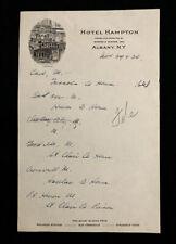 UNKNOWN DATE USED LETTERHEAD HOTEL HAMPTON ALBANY, NY ILLUS. HOTEL LT35