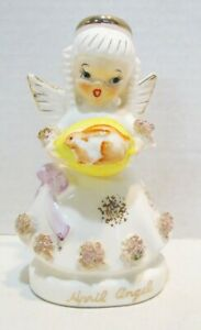 APRIL BIRTHDAY ANGEL VINTAGE CERAMIC FIGURINE # 1294 HOLDING EGG W/ EASTER BUNNY
