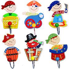 Wandhaken Garderobenhaken Pirat Kinder Kleiderhaken Holz Garderobe 6er Set