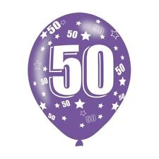 6pk Age 50 Assorted Colours Latex Balloons Birthday Party Decorations