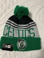 NBA New Era Boston Celtics Cuffed Knit Winter Pom Beanie Hat Cap NWT Tatum Brown