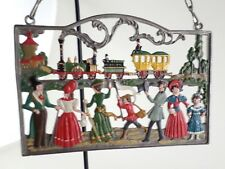 VTG Kuhn Zinn Hand Painted Pewter Ornament Wall Hanging People Greeting Train