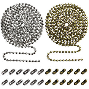 2pack Beaded Pull Chain Extension with Connector 10 Feet Beaded Roller Chain