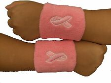 Pink Ribbon Logo Cotton Cloth Sweat Wristbands- 2 Pieces