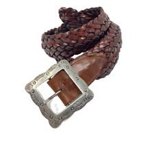 Vintage Ladies Small HAROLD'S ITALY Genuine Brown Weave Leather Silver Buckle