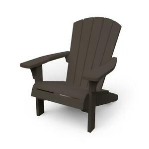 Keter Troy Adirondack Chair Brown Weather-Resistant Resin Plastic UV Protection