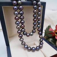 35 ' Natural Aaa 9-8 mm Tahitian Black Pearl Necklace 14k Gold