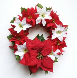 Red & White Wreath Poinsettia Artificial Floral Holiday Christmas Home Decor