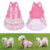 Cute Small Dog Cat Floral Dress Pet Vest T Shirt Costumes Puppy Clothes Skirt