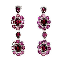Unheated Oval Pink Rhodolite Garnet 8x6mm 925 Sterling Silver Earrings