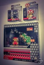 Mario vs Bowser 2 Pack World of Nintendo 8 Bit Classic Mario Toad Figure Lot