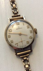 Superb Ladies Top Make Vintage London 1966 Solid Gold 9CT Zenith Watch All 9CT