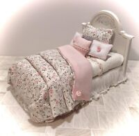 PINK ROSE Shabby Chic BED Artisan Dollhouse Miniature Bedroom Furniture 1:12