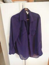 LNC coldwater creek sheer purple hi lo modern blouse shirt xl 16