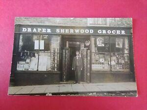 Unidentified Shop Front,  Sherwood  Draper and Grocer. ? Kirkby Moorside ?